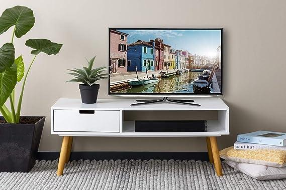 LIFA LIVING Mueble TV Blanco, Mesa televisión de diseño Vintage Industrial, Soporte para Tele con estantes y Patas de Madera, 40 x 100 x 40 cm: Amazon.es: Hogar