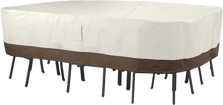 AmazonBasics - Funda protectora para juego de sillas y mesa rectangular/ovalada (tamaño grande)