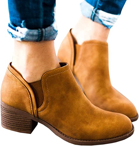 Womens Cutout Chelsea Ankle Boots Slip on Closed Toe Stacked Chunky Block Heel Booties
