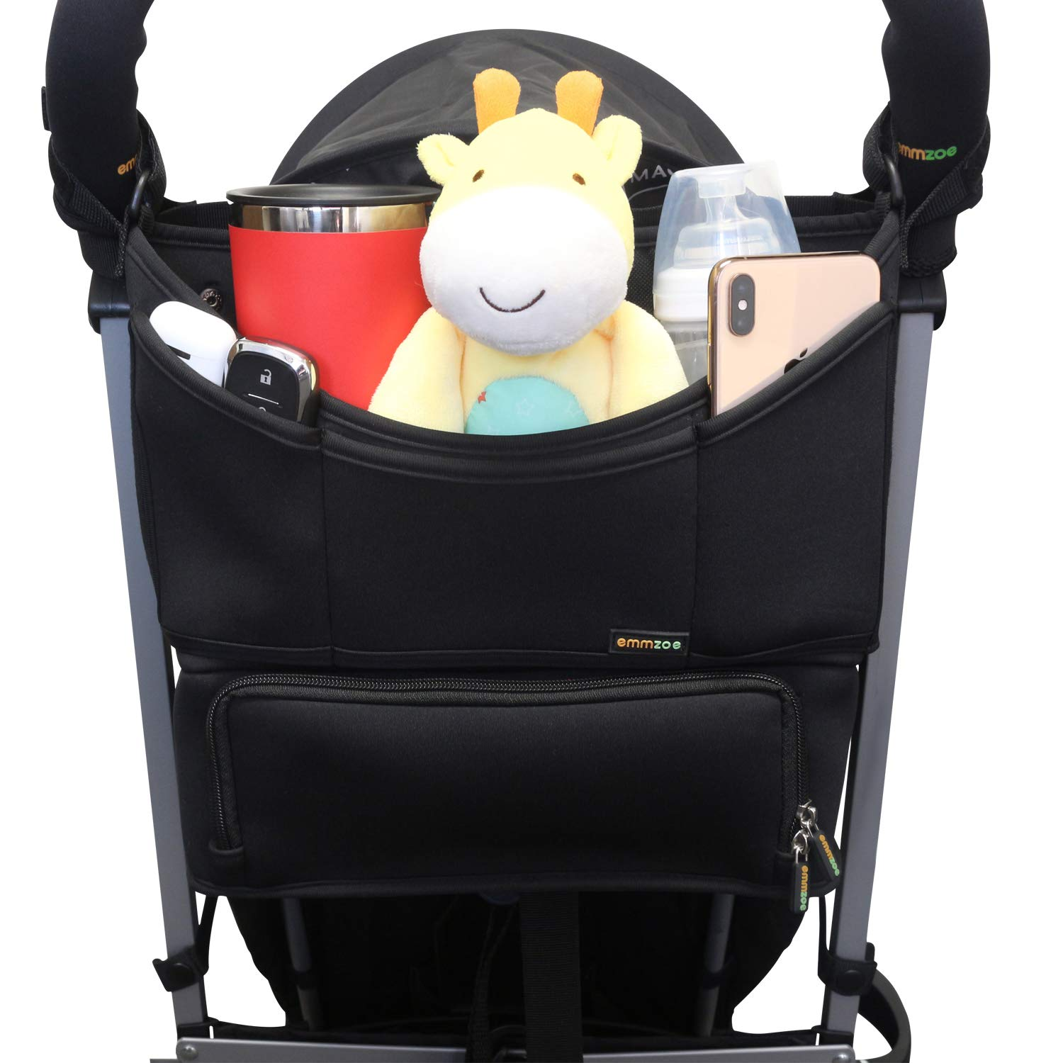 Emmzoe Universal Fit Parent Stroller Organizer - All-in-One Solution with Insulated Compartment for Food and Drinks - Holds Diapers, Wipes, Toys