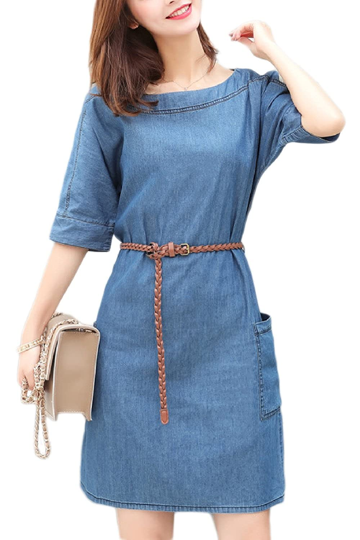 Suvotimo Women Denim Dress Half Sleeve Jeans Shift Dresses ...