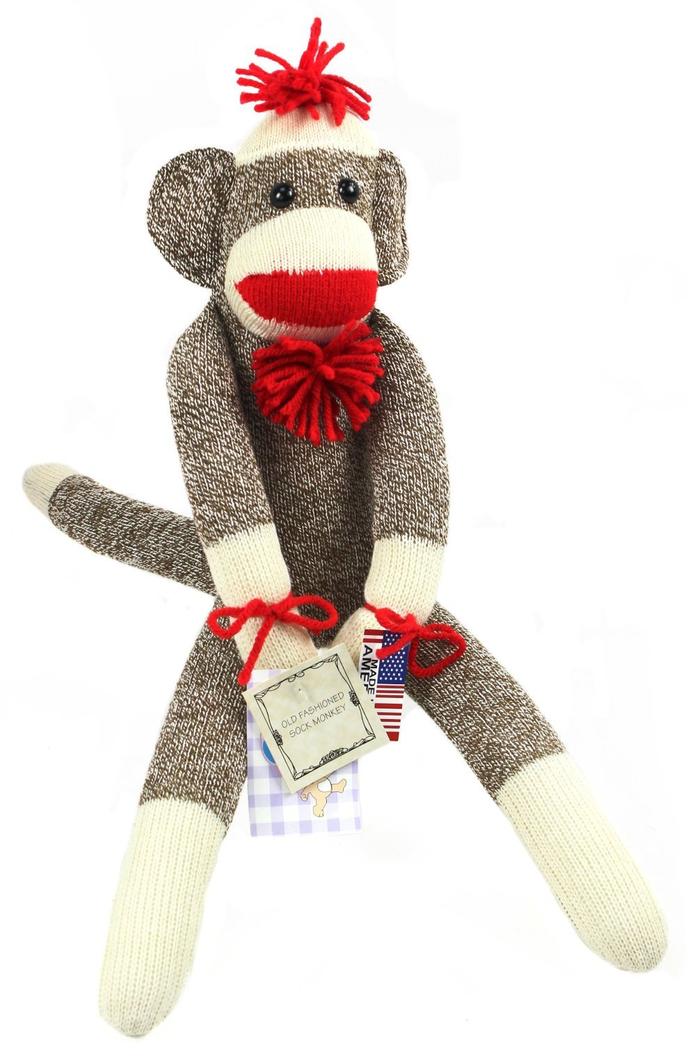 Made in the USA Ozark Mountain Kids Featuring Classic Button Eyes and Poof Ball Necktie The Original Sock Monkey Pom Pom Hat Measures 19 Inches Tall