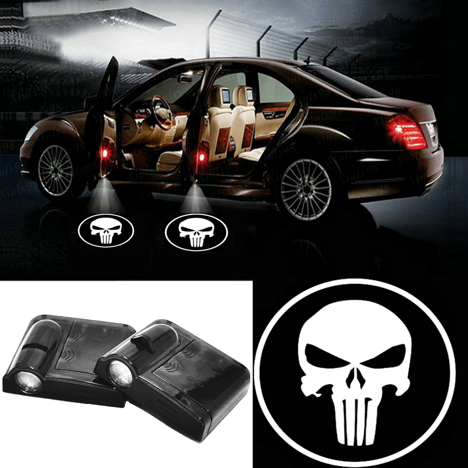 2pcs Wireless Universal Car Projection LED Projector Door Shadow Logo Light Welcome Lamps Courtesy Lights Kit Magnet Sensor White Skull