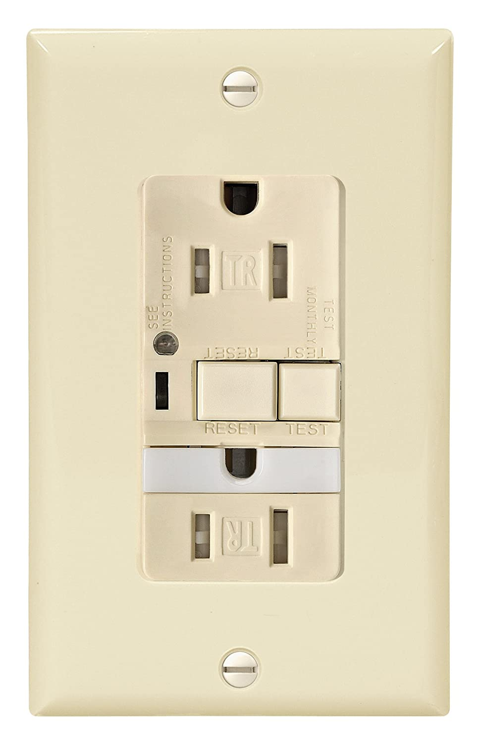Cooper Wiring Devices Trvgfnl15a Tamper Resistant 15 Amp Combination A Gfci Receptacle With Nightlight Almond Finish Electrical Boxes