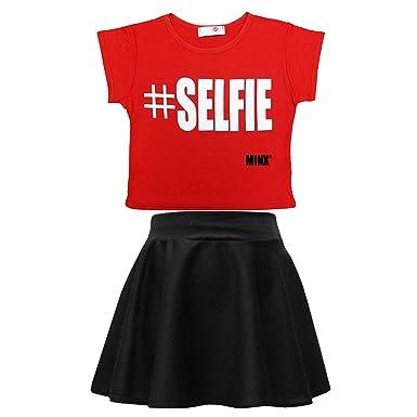 343febe108c14 Girls Graffiti Scribble Print Kids Selfie Crop Top   Black Skater Skirt  (Red Selfie 7