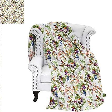 Amazon com: ALLMILL Birds Digital Printing Blanket Brush Stroke