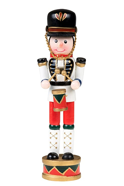 Christmas Drummer.Drummer Nutcracker Traditional Christmas Decor Drum And Drum Sticks White Blue Red Drumming Outfit Uniform Perfect For Any Collection