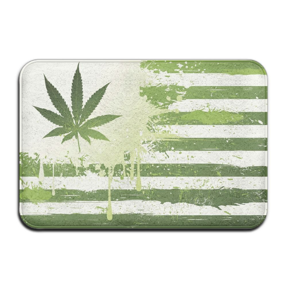 BINGO BAG Green Leaves Flag Indoor Outdoor Entrance Printed Rug Floor Mats Shoe Scraper Doormat For Bathroom, Kitchen, Balcony, Etc 16 X 24 Inch by BINGO BAG