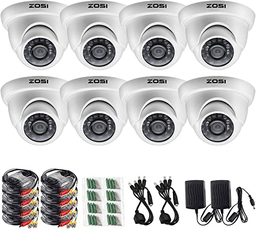 ZOSI 8 Pack 1 3 1000TVL 960H Security Surveillance CCTV Infrared Camera Kit System Had IR Cut 3.6mm Lens Outdoor Weatherproof