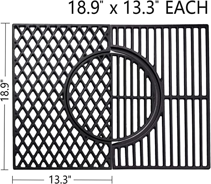 X Home Cooking Grates for Weber Genesis II 300 Series, 66095 Upgraded 3-in-1 Cast-Iron Grill Sear Grate with Gourmet BBQ System - 18.9 x 13.3 inch