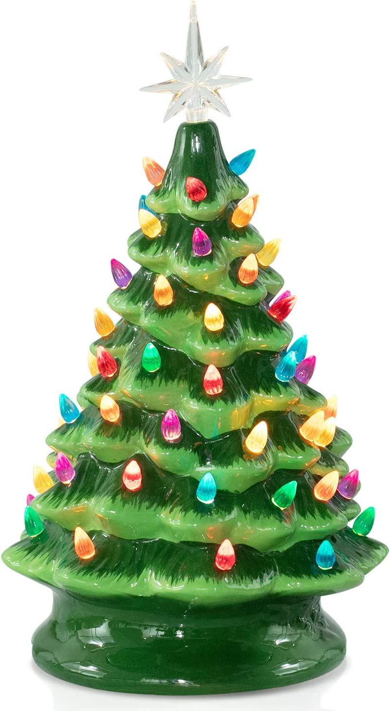 Ceramic Christmas Tree, Battery Operated Tabletop Artificial Christmas Decoration Tree with Multicolored Lights, 15 Inch Large Green Christmas Tree, Star Included, Battery Not Included