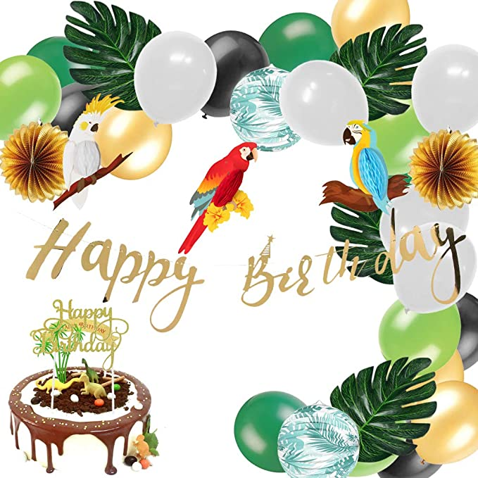 Cupcake Topper paper jazz Jungle Theme Birthday Party Decorations Hanging Happy Birthday Banner Cake Topper Animal Summer Baby Shower Party Supplies