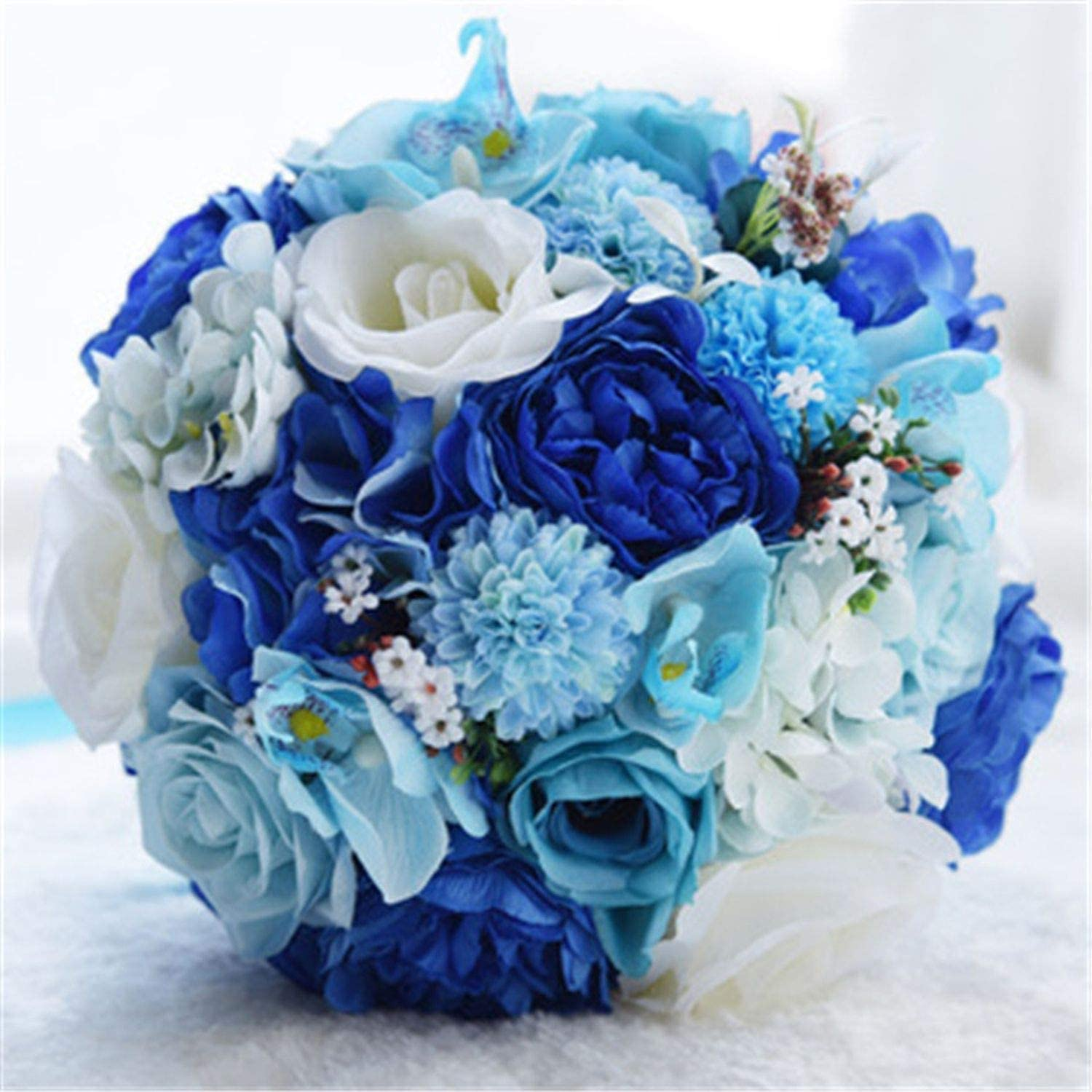 Amazon Com Kaka Home Artificial Flowers Beautiful Blue White Rose Bouquet Groom Bride Holding Flowers Wedding Bridesmaid Decoration Fake Flowers Blue White Kitchen Dining