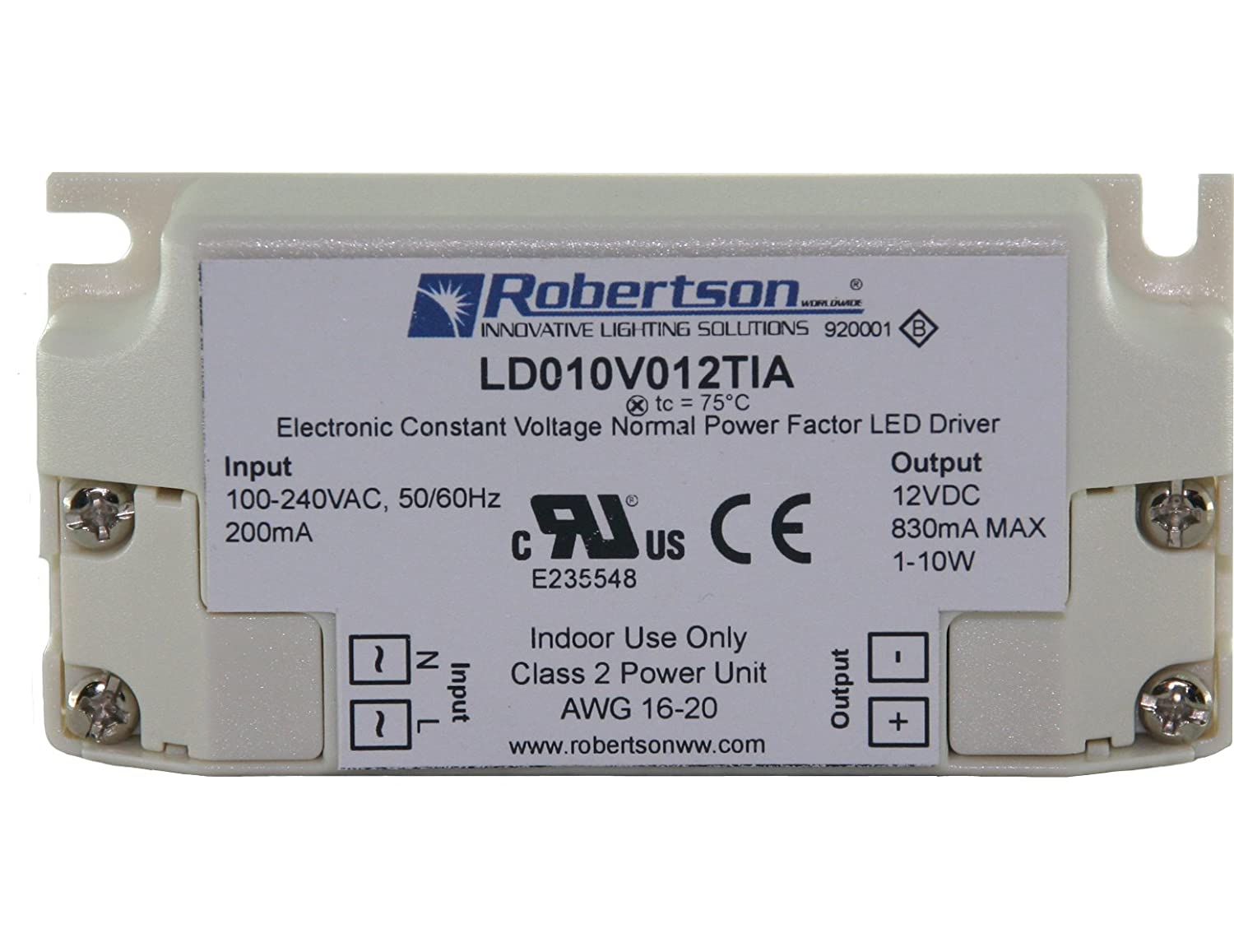 ROBERTSON 3P30015 LD010V012TIA LED Driver 1-10 Watt 100-240Vac Input 40-830 mA Constant Voltage 12Vdc Output Normal Power Factor ...  sc 1 st  2DayDeliver : robertson innovative lighting solutions - www.canuckmediamonitor.org