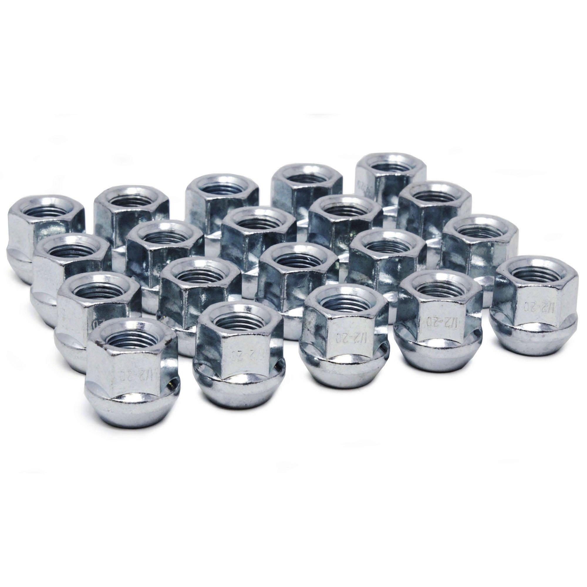 WheelGuard 1104, Zinc Finish, Open-end Acorn Bulge Lug Nut, 1/2-20 Thread, 3/4 Hex, (Pack of 20)