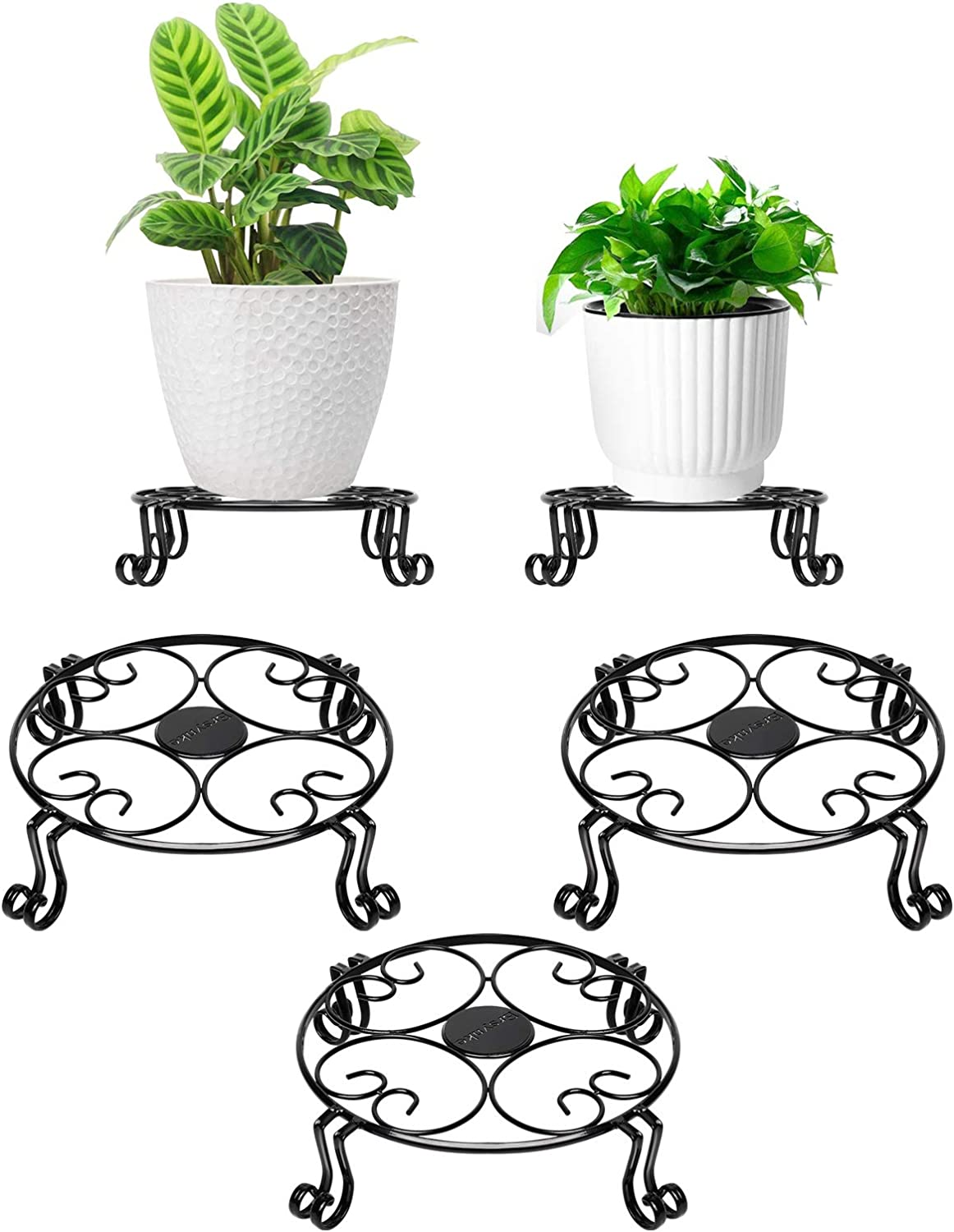 3 Pack Black Metal Plant Stands Rustproof Sturdy Potted Plant Stand Indoor Outdoor Decorative Round Plant Stands for Home & Garden Plant Flowerpot Holder 11.8 Inches (Plant Pot Not Include)
