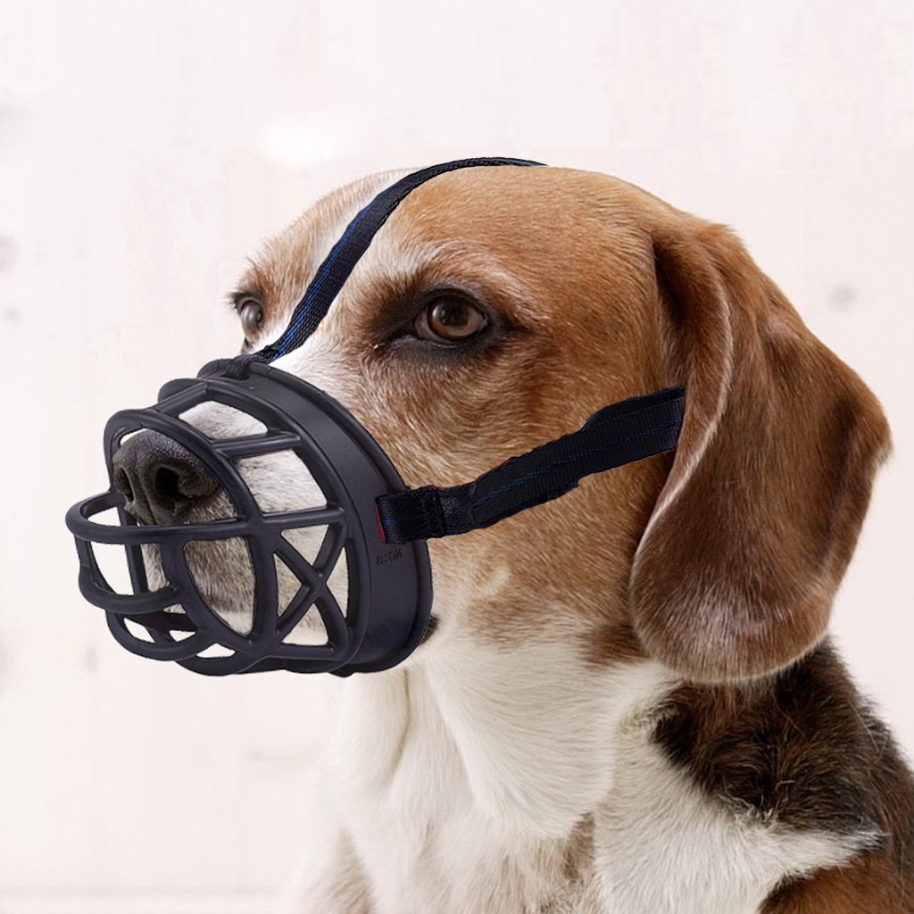 Dog Muzzle,Soft Rubber Basket Muzzles Dog to Inhibits Barking, Biting Chewing (Size3-10.2/3.4in, Black)