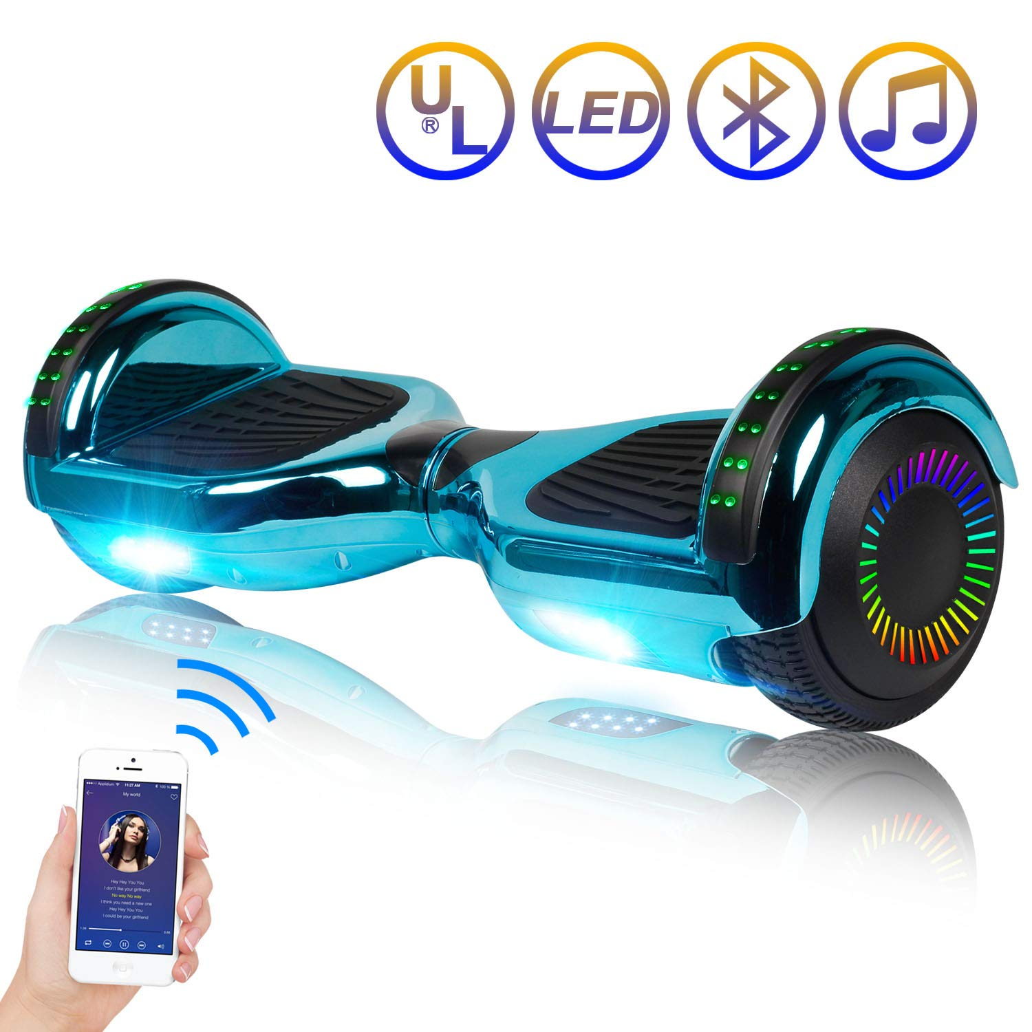 SISIGAD Hoverboard Self Balancing Scooter 6.5 Two-Wheel Self Balancing Hoverboard with Bluetooth Speaker and LED Lights Electric Scooter for Adult Kids Gift UL 2272 Certified – Plating Dazzle Series