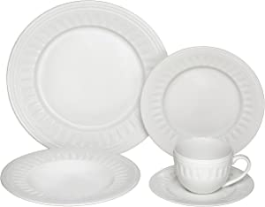 Melange 40-Piece Porcelain Dinnerware Set (English Lace) | Service for 8 | Microwave, Dishwasher & Oven Safe | Dinner Plate, Salad Plate, Soup Bowl, Cup & Saucer (8 Each)