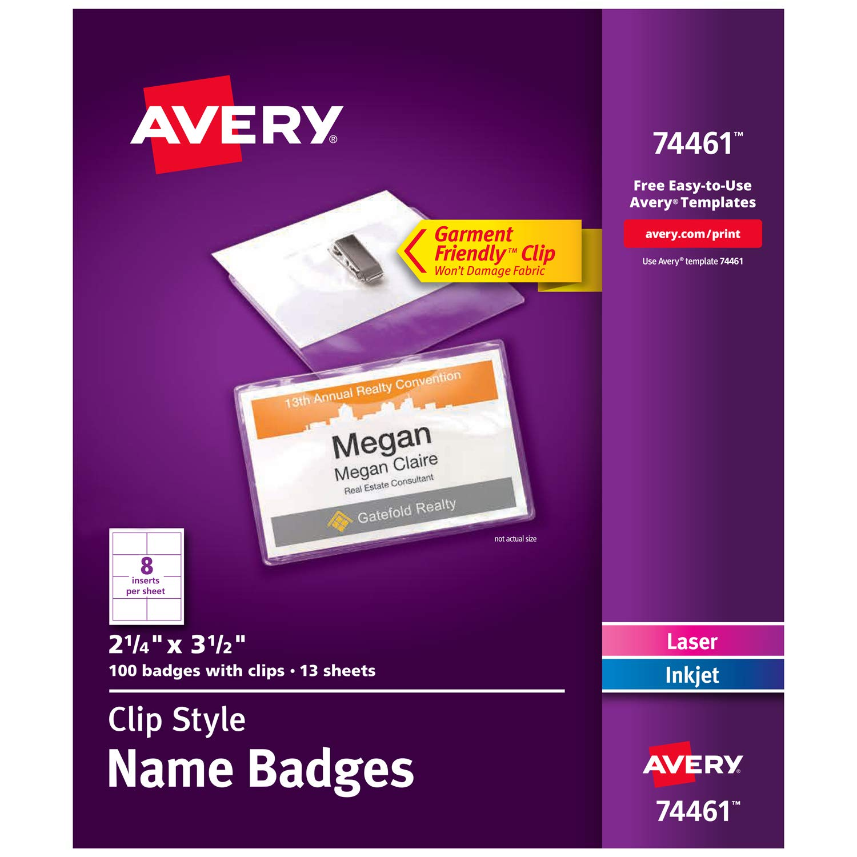 Amazon Avery Clip Name Badges Print Or Write 2 14 X 3 12