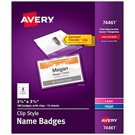 amazon com avery clip name badges print or write 2 1 4 x 3 1 2