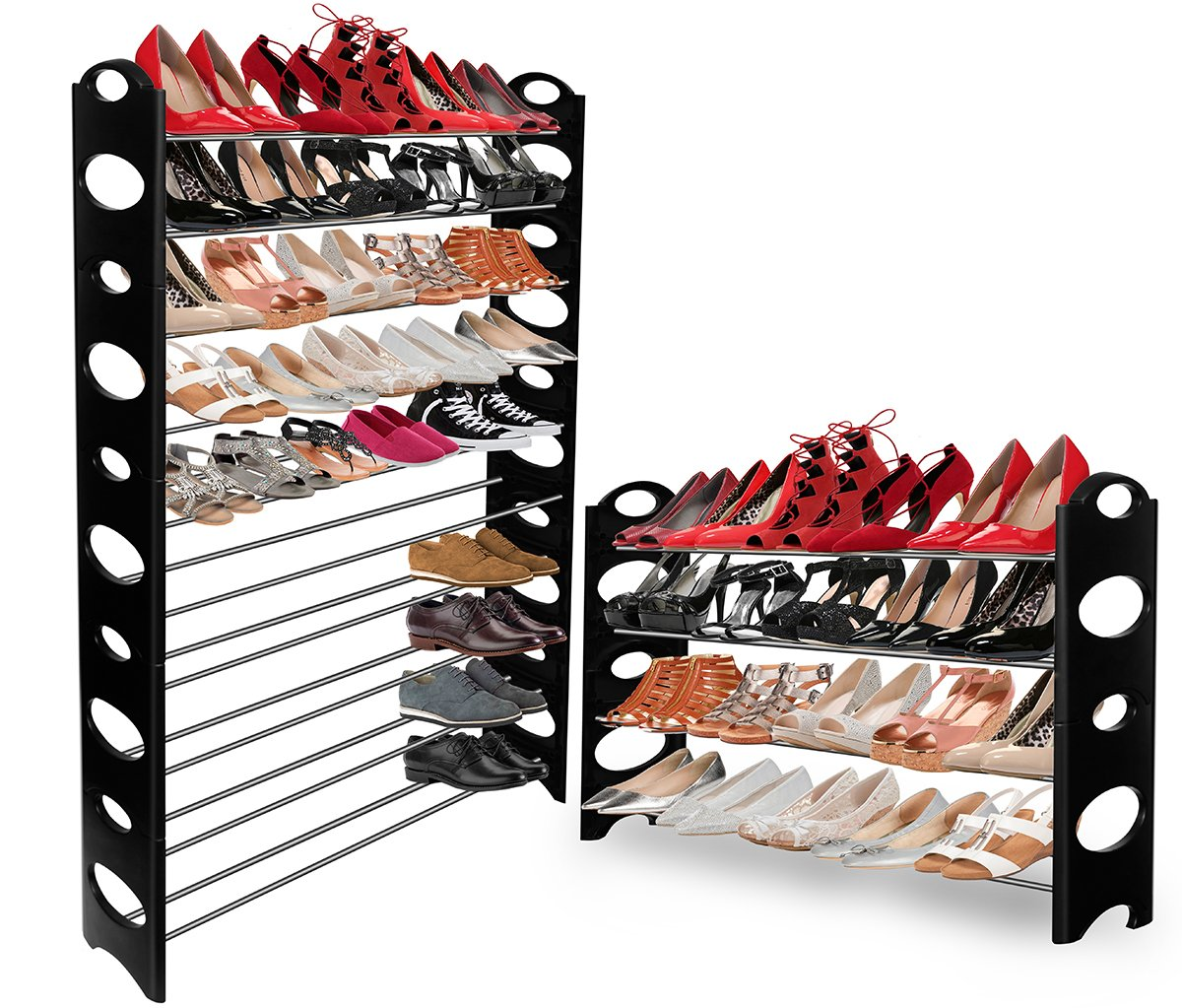 Good Amazon.com: OxGord 50 Pair Shoe Rack Storage Organizer, 10 Tier Portable  Wardrobe Closet Bench Tower Stackable, Adjustable Shelf   Strong U0026 Sturdy  Space ...