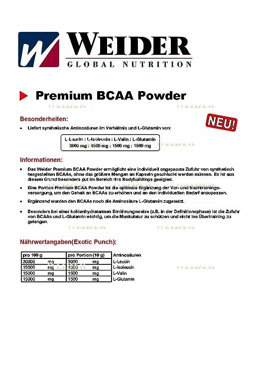 WEIDER Premium BCAA Powder Cereza-Coco 500 g: Amazon.es: Salud y cuidado personal