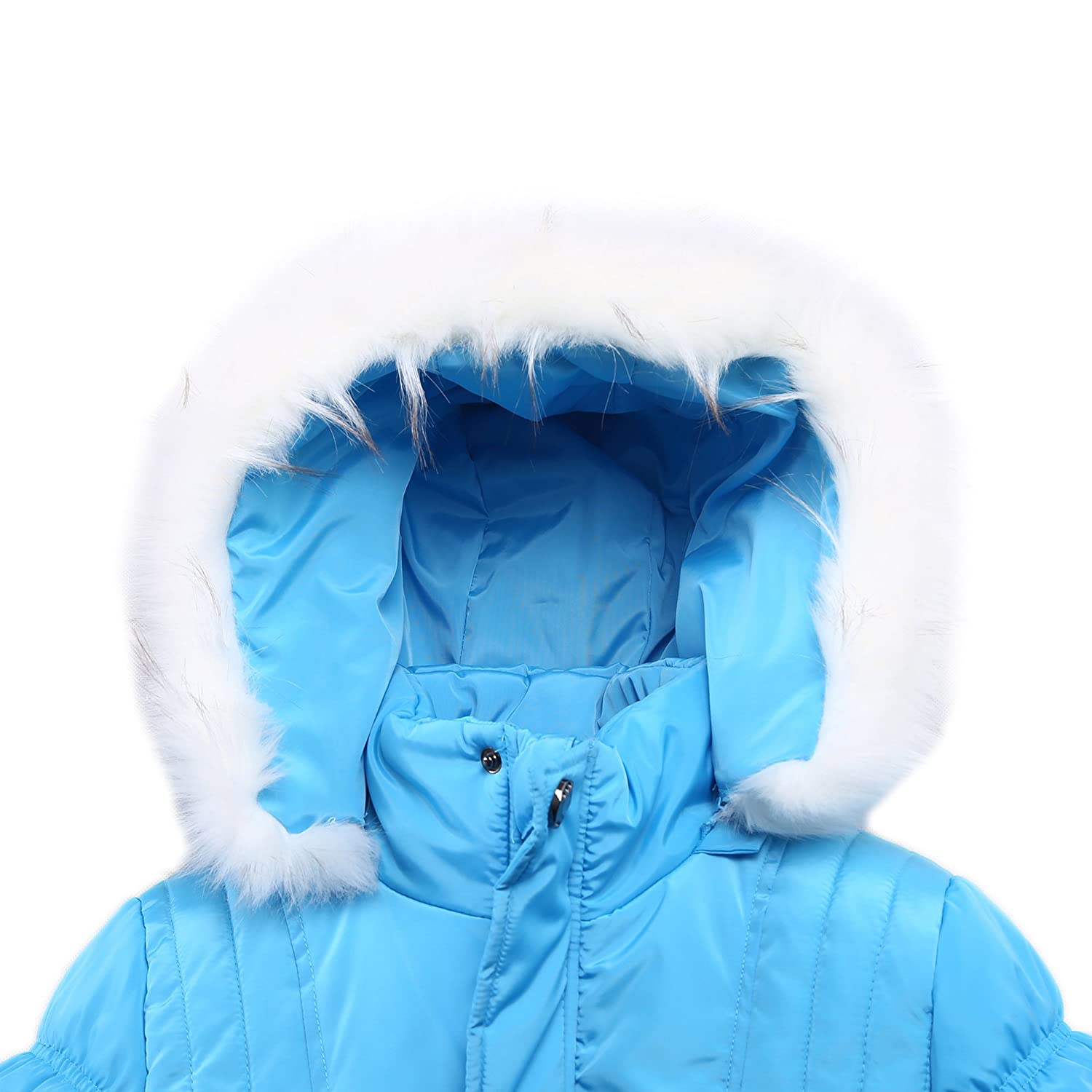 Richie House Big Girls Padded Winter Jacket with Belt and Faux Fur Hood RH0784