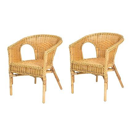 Rotin Design Lote de 2 sillones de Mimbre Chris Miel Moderno