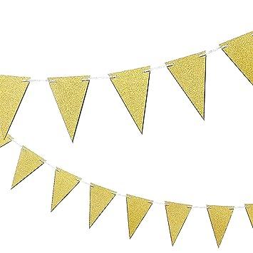 amazon com gold happy birthday banner triangle garland elegant