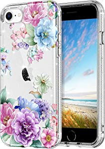 Lamcase for iPhone SE 2020 Case, iPhone 8 Case, iPhone 7 Case Floral Clear Bling Sparkly Glitter Shiny Slim Fit Hard PC Drop Protection Shockproof Women Girls Cover for iPhone 7/8/SE 2nd, Green flower