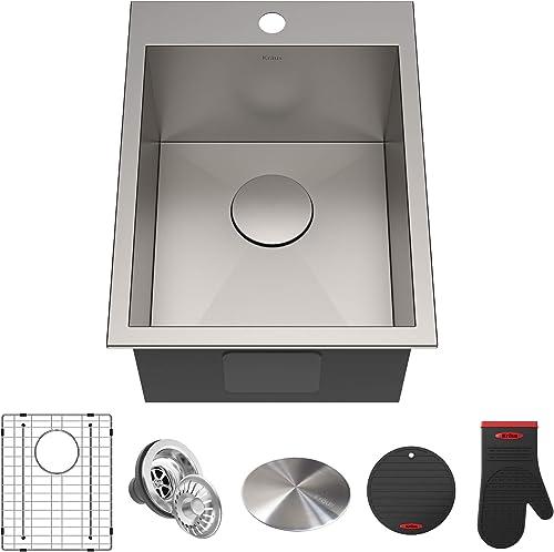 Kraus KP1TS15S-1 Pax Kitchen Sink, 15 x 20 x 9 1 Hole