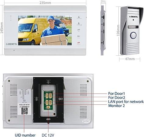 4.3 Pulgadas 1MP HD Door Viewer C/ámara Monitor Video Timbre para casa Familiar. Vbestlife Sistema de intercomunicaci/ón de Timbre de videoportero visi/ón Nocturna