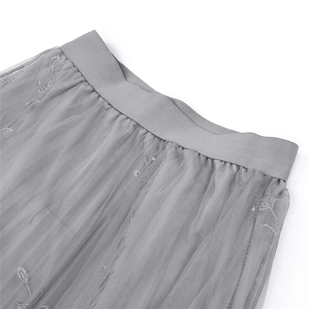 UBeetp Womens Lace Tulle Pleated Party Dress Girls Mesh A-line Midi Skirt