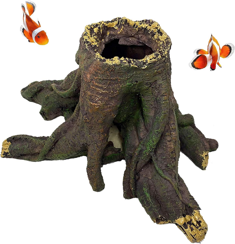 kathson Aquarium Stump Root Ornament, Betta Fish Resin Decoration with Holes Aquarium Hideout Cavesfor Small and Medium Fish Tank Decor