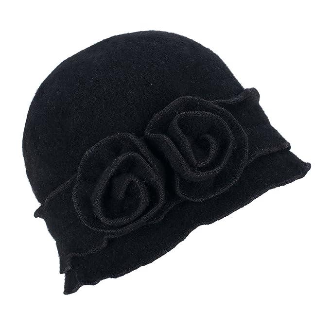 fadb1e34d99a74 Womens Gatsby 1920s Winter Wool Cap Beret Beanie Crochet Bucket Flower Hat  A285 (Black)