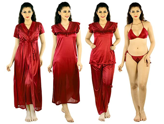 2d6d2ff817 Senslife Satin Solid 6 Piece Night Dress for Women  Amazon.in ...