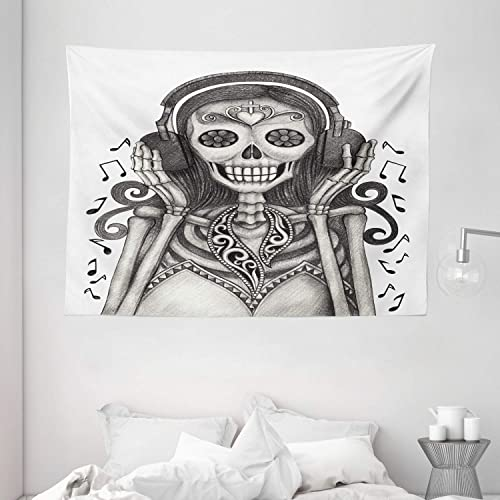 Ambesonne Day of The Dead Tapestry, Dia de Los Muertos Skull and Girl with Headphones Music Lover Print, Wide Wall Hanging for Bedroom Living Room Dorm, 80 X 60 , Dimgrey Dust