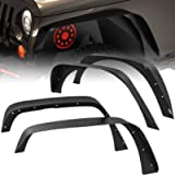 oEdRo Solid Steel Fender Flares Compatible with 2007-2018 Jeep Wrangler JK & Unlimited Off-Road Front & Rear Flat 4 PCS…