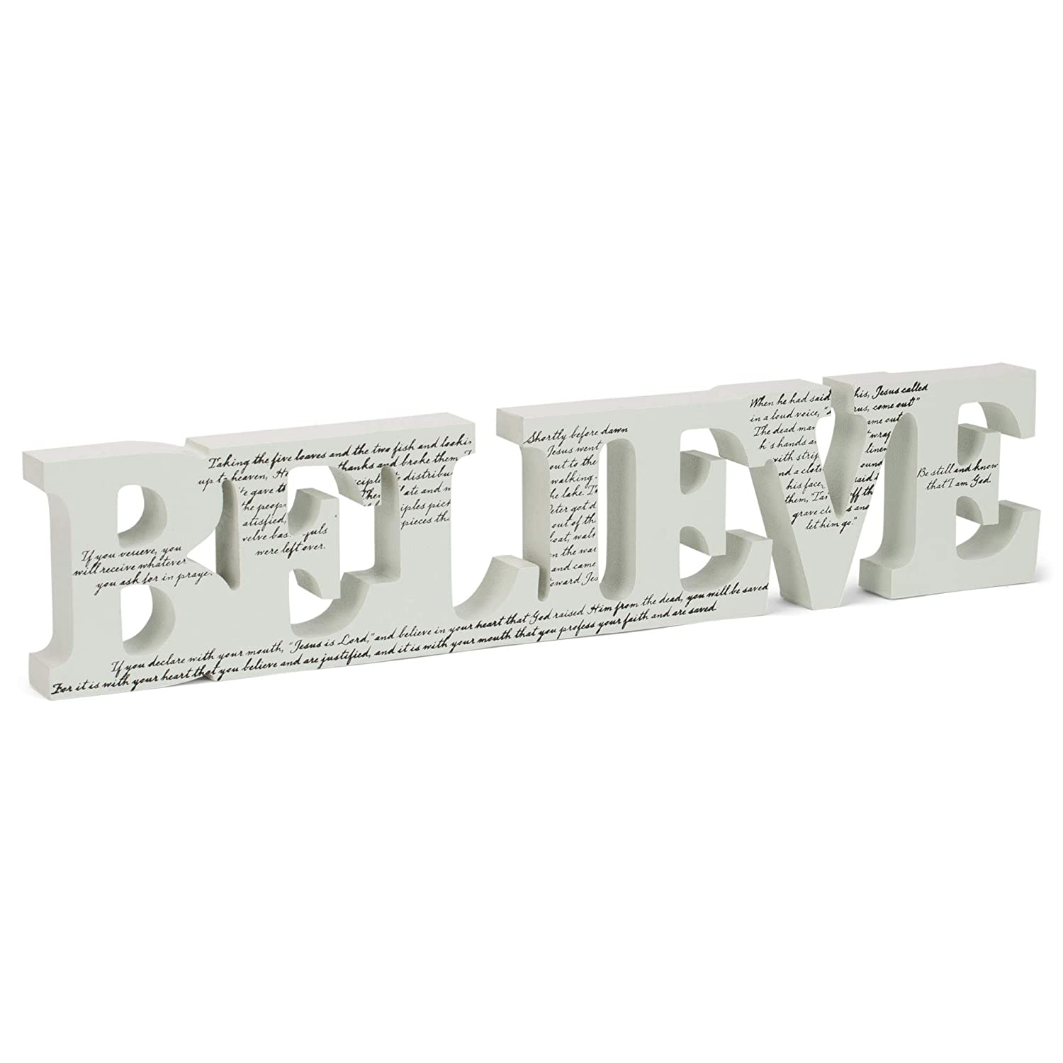 Dicksons Believe Words Inspirational White Black 10 inch Tabletop Plaque