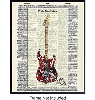 Eddie Van Halen Guitar Hard Rock Music Poster Print Wall Art 18x24