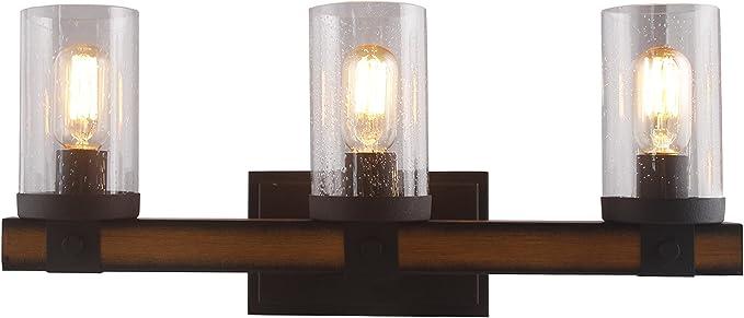 3 Light Barrington Distressed Black And Wood Bathroom Vanity Light Wall Sconces Wall Lamp Bathroom Bubble Seeded Glass Rustic Industrial Sytle Amazon Com