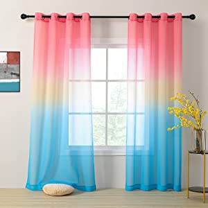 MYSKY HOME Rainbow Sheer Curtains for Girls Bedroom Blue Ombre Curtains 84 inch Length 2 Panels Set for Kid Nursery Grommet Blue and Pink Gradient Light Filtering Semi Sheer Curtains