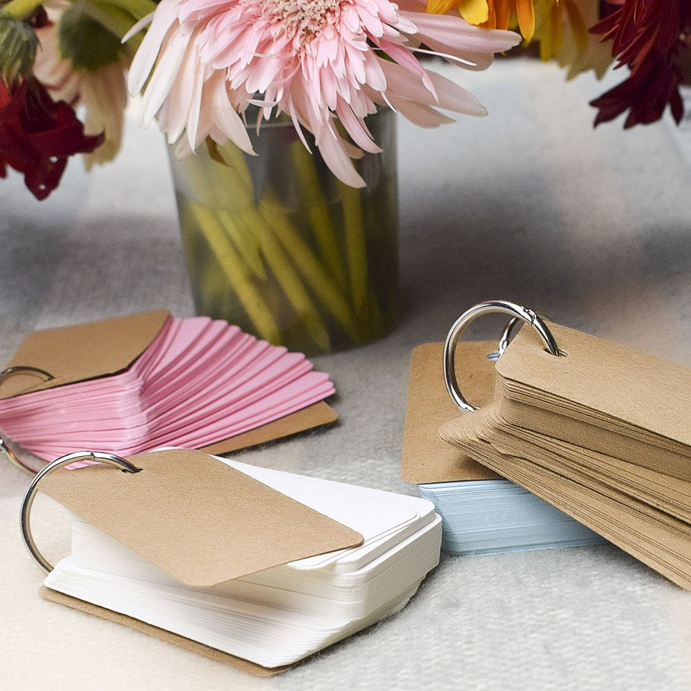 WXJ13 300 Pieces Colour Record Card Kraft Paper Study Cards Unruled Colored Pages with Binder Ring 4 x 7 cm