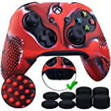 9CDeer 1 Piece of Studded Protective Silicone Cover Skin Sleeve Case + 8 Thumb Grips Analog Caps for Xbox One/S/X Controller