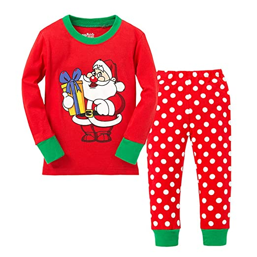 56e8ddf02e Image Unavailable. Image not available for. Color  Baby Boys Girls  Christmas Pajamas Set Santa Long Sleeve ...