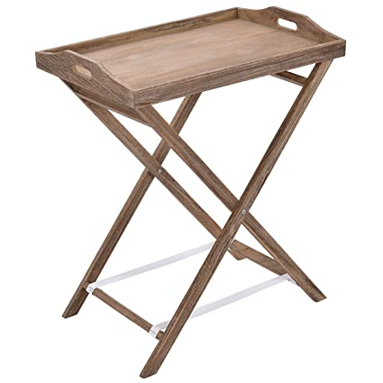 Tangkula Folding Tray Table Portable Sofa Side Serving Table Wood