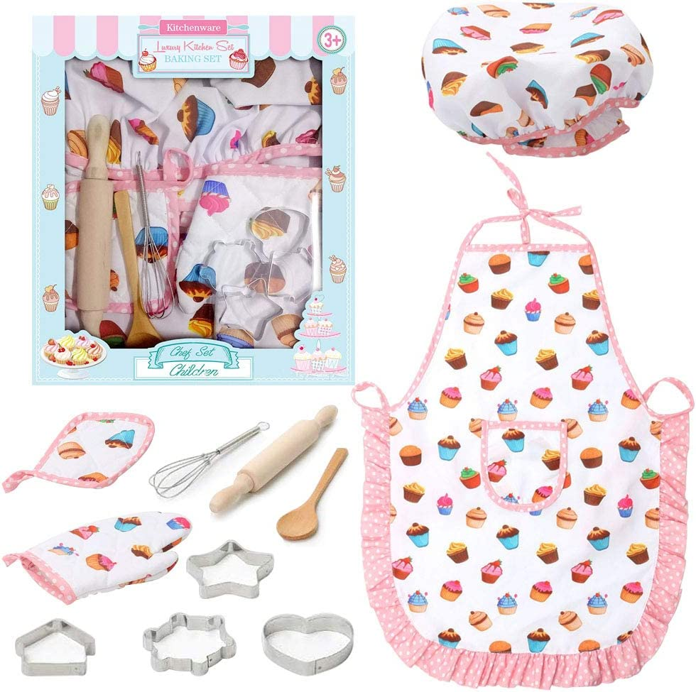 Kids Chef Role Play Costume Set, 11PCS Toddler Cooking and Baking Set with Apron, for Dress Up Chef Costume Career Role Play
