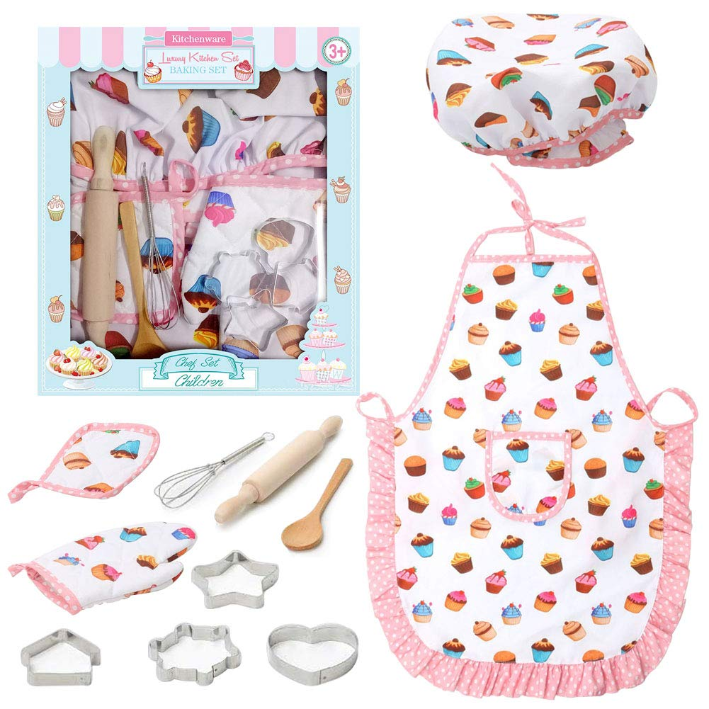 Kids Chef Role Play Costume SetxFF0C; Toddler Cooking and Baking Set with Apron by 3 otters