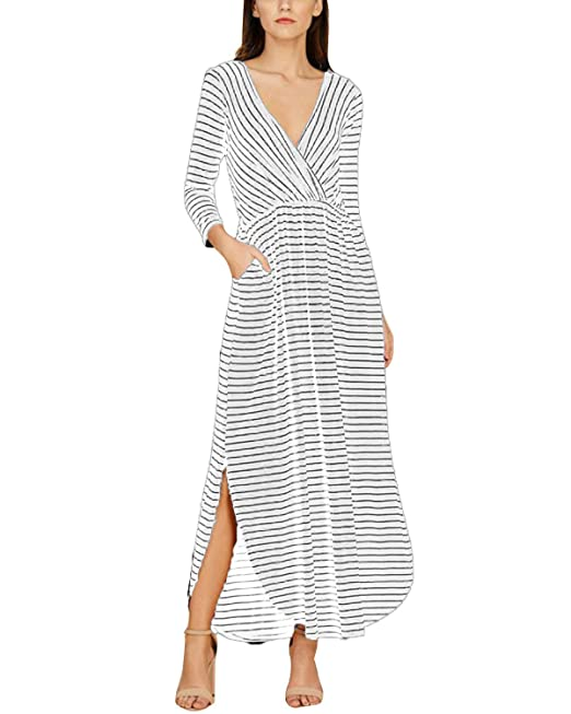 ACHIOOWA Mujer Faldas Largas Vestido Elegante Mujer Vestidos de Fiesta Largos de Noche Vestidos Cuello V